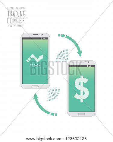 Illustration vector stock trading over the Internet with a mobile phone.