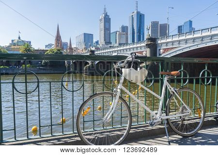 Melbourne, Australia - Feb 27, 2016: View of a vintage bike in Melbourne CBD. Cycling is common for recreation and commuting in Melbourne. The city has an extensive network of cycling paths.
