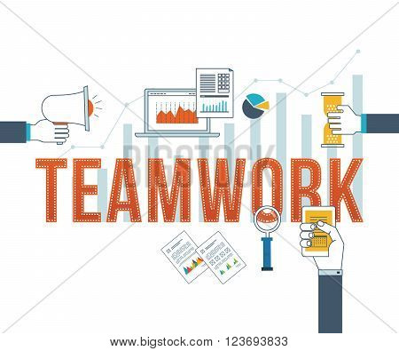 Concept for corporate business, teamwork, management, strategy planning and investment. Illustration for website banner and landing page.