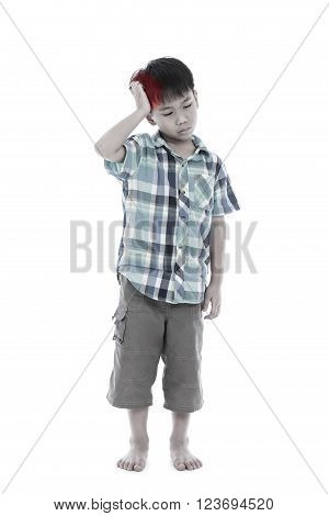 Full body. Asian handsome boy have a headache, his hand on head, emotion feeling sign. Isolated on white background. Negative human emotion, facial expression feeling reaction. Studio shot.