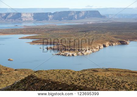 landscape of lake Powell, reservoir on the straddling the border between Utah and Arizona, Colorado River, USA