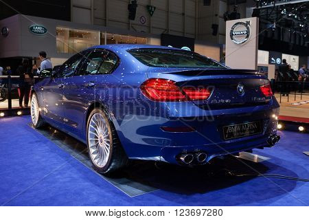 GENEVA, SWITZERLAND - MARCH 1: Geneva Motor Show on March 1, 2016 in Geneva, BMW Alpina B6 Bi-turbo Gran Coupe, rear-side view