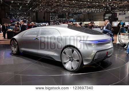 GENEVA, SWITZERLAND - MARCH 1: Geneva Motor Show on March 1, 2016 in Geneva, Mercedes-Benz F 015 Concept Vehicle, rear-side view