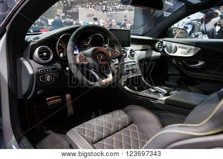 GENEVA, SWITZERLAND - MARCH 1: Geneva Motor Show on March 1, 2016 in Geneva, Mercedes-AMG C 63 S Coupe, interior view