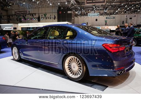 GENEVA, SWITZERLAND - MARCH 1: Geneva Motor Show on March 1, 2016 in Geneva, BMW Alpina B7 Bi-turbo, rear-side view