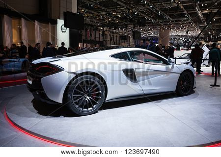 GENEVA, SWITZERLAND - MARCH 1: Geneva Motor Show on March 1, 2016 in Geneva, McLaren 570GT, front-side view