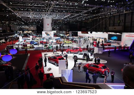 GENEVA, SWITZERLAND - MARCH 1: Geneva Motor Show on March 1, 2016 in Geneva, Nissan and Honda stand wide view