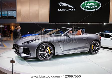 GENEVA, SWITZERLAND - MARCH 1: Geneva Motor Show on March 1, 2016 in Geneva, Jaguar F-Type SVR, front-side view