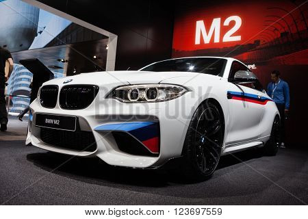 GENEVA, SWITZERLAND - MARCH 1: Geneva Motor Show on March 1, 2016 in Geneva, BMW M2, front-side view