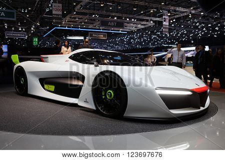 GENEVA, SWITZERLAND - MARCH 1: Geneva Motor Show on March 1, 2016 in Geneva, Pininfarina H2 Speed concept, front-side view