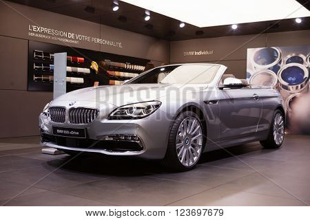 GENEVA, SWITZERLAND - MARCH 1: Geneva Motor Show on March 1, 2016 in Geneva, BMW 650i xDrive, front-side view
