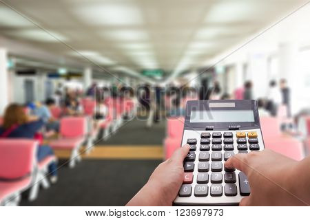 Travel Cost Calculation Concept By Calculator And Terminal In Background