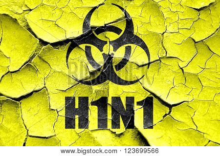 Grunge cracked h1n1 virus concept background with some soft smooth lines
