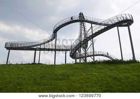 Duisburg, Germany - May 17, 2015: Tiger And Turtle Sculpture In Angerpark, Duisburg, Germany.