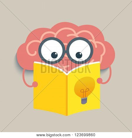 The brain reading a book , reading for smart brain