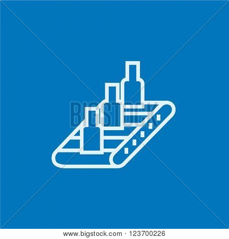 Conveyor belt system line icon.