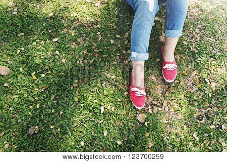 Freestyle Leisure Lifestyle Relaxing Lying Sneaker Concept