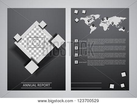 Abstract gray squares presentation template. Annual report cover layout design with infographics elements. Brochure template A4 size design. Vector template of cover and page of annual report.