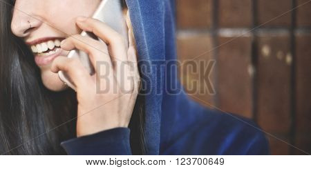 Woman Hipster Hoodie Communication Connection Concept