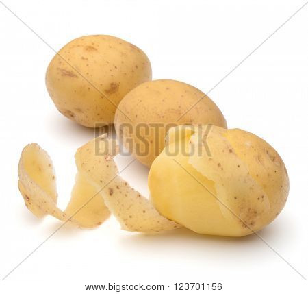 peeled potato tuber with peel spiral isolated on white background cutout