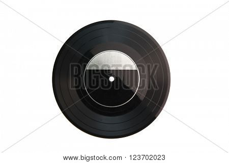 Old analog record disk isolated on white. 7