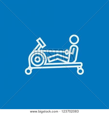 Man exercising with gym apparatus line icon.