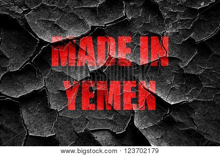 Grunge cracked Made in yemen with some soft smooth lines