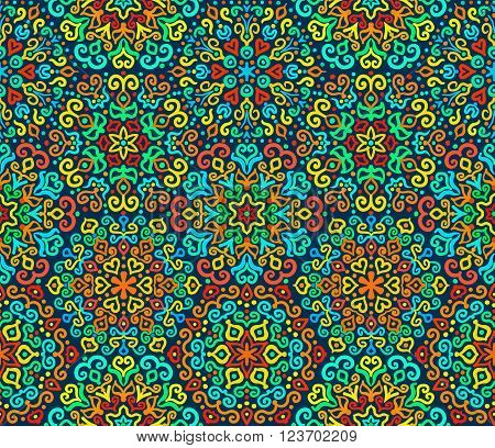 Bright Hexagon Ornament from colorful elements. Abstract flower motif. Vibrant colors in vector ornament. Bright decorative seamless pattern for your design.