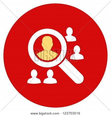 Explore Patients vector icon. Image style is a flat light icon symbol on a round red button