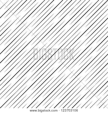 Seamless Rain Background. Vector Black and White Pattern