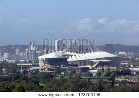 DURBAN SOUTH AFRICA - MARCH 23 2016: Above view of Moses Mabhida stadium and city skyline in Durban South Africa