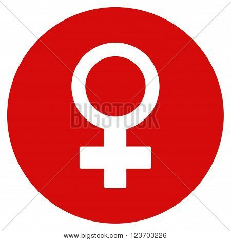 Female Symbol vector icon. Image style is a flat light icon symbol on a round red button