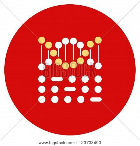 Genetic Code vector icon. Image style is a flat light icon symbol on a round red button