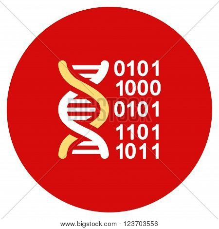 Genome Code vector icon. Image style is a flat light icon symbol on a round red button