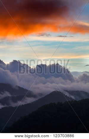 Dramatic cloudscape sunset in Troodos mountains Cyprus
