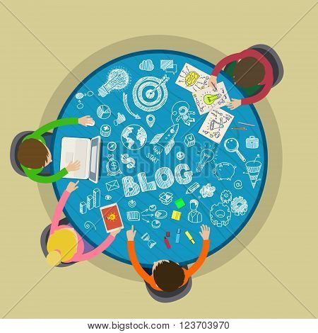 Concept of blogging. Writing an article for blog on computer. Flat illustration