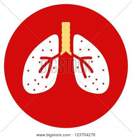 Lungs vector icon. Image style is a flat light icon symbol on a round red button