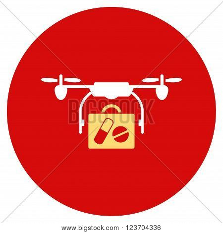 Medical Drone Shipment vector icon. Image style is a flat light icon symbol on a round red button