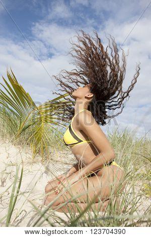 Moody Yellow Bikini Girl
