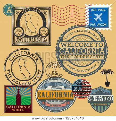 Vintage post stamps set with name of California United States, vector illustration