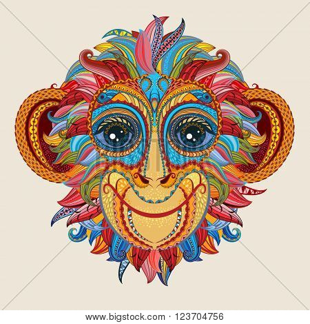 Color patterned head of the monkey. Tattoo design. 2016 New Year Symbol. Vector illustration.