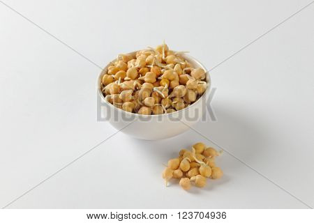 Bowl of sprouted chick peas