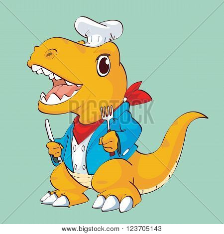 Dinosaur chef , Brown dinosaur with blue shirt