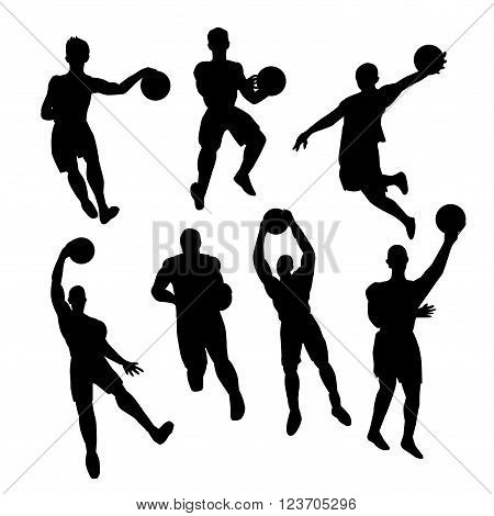 Set of basketball players silhouette  on white