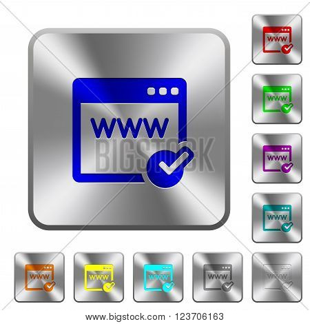 Engraved domain registration icons on rounded square steel buttons