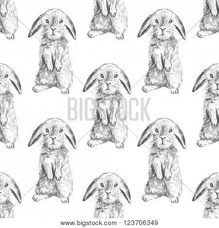 Seamless pattern with hand drawn hares