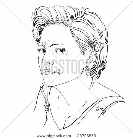 Vector Portrait Of Attractive Woman, Illustration Of Good-looking Female Expressing Doubt. Person Em