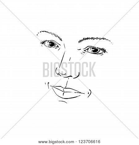 Facial Expression, Hand-drawn Illustration Of Face Of Romantic Girl With Positive Emotional Expressi