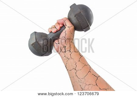 Right broken arm and hand holding a retro dumbbell isolated on white background