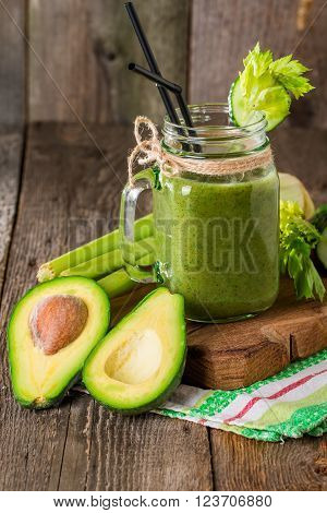 Healthy Green Juice Smoothie With Straw